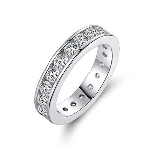 Barzel 18k White Gold Plated Cubic Eternity Ring